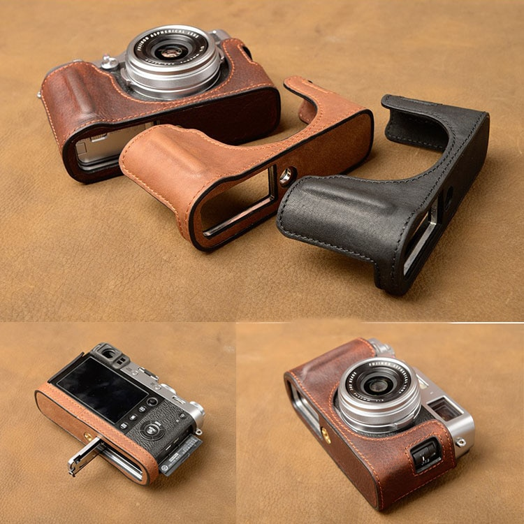 AYdgcam Brand Genuine Leather Camera case Bag Handmade Half Body Cover For Fujifilm X100F X100V  Battery Opening