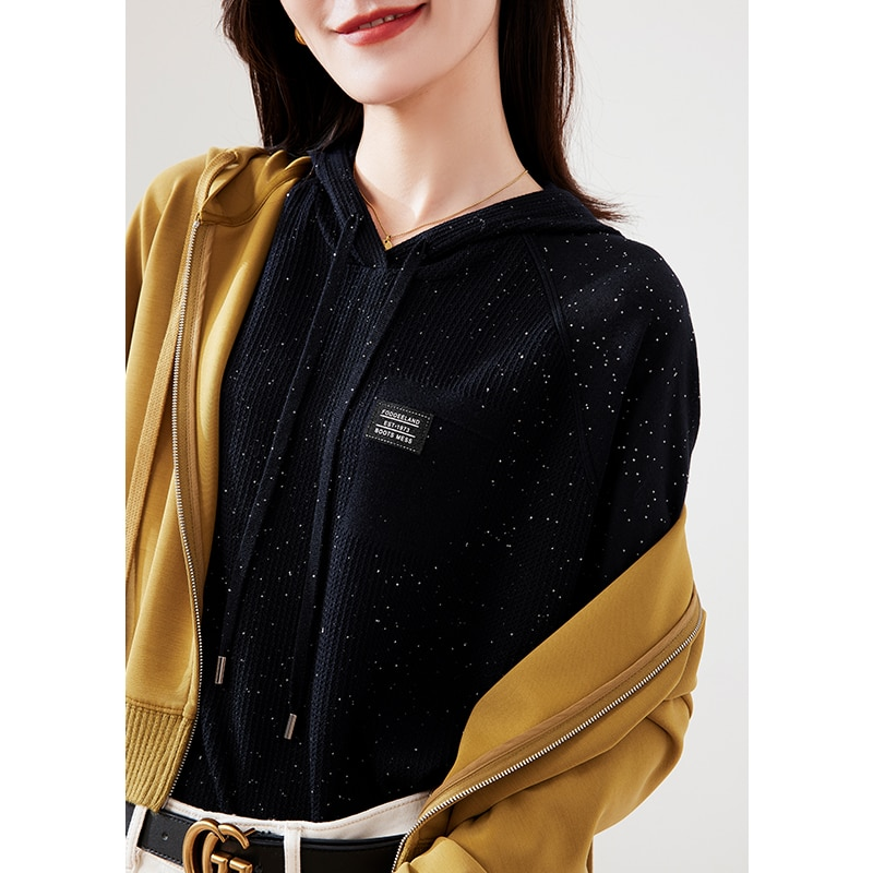 SHUCHAN Hooded  Womens Sweaters with Short Sleeve Summer 50% Wool Sequins Casual  Solid  Thin (Summer) enlarge