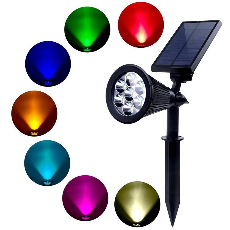 7 LED impermeable Solar lámpara LED para jardín Luz de inundación Spike Lighting Control para Sendero de jardín al aire libre y arandela de pared