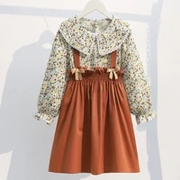 girls clothing sets 2021 autumn floral tops overalls sets 2pcs for kids outfits preppy style children clothing 3 14 years