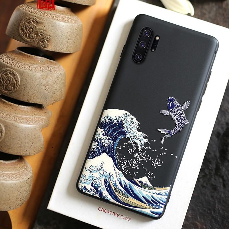 Para Samsung Galaxy Note 10 Plus + Caso 5G Nota 10 9 8 3D Relief Embossed Matte caso de Volta Suave capa para Caso Oficial LICOERS Funda