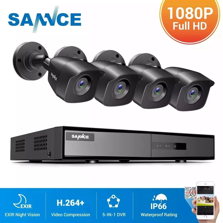 Get SANNCE 1080P Lite DVR H.264+ CCTV System 4pcs 1080P 2MP Security Cameras IP66 Outdoor Night Vision Video Surveillance Kit