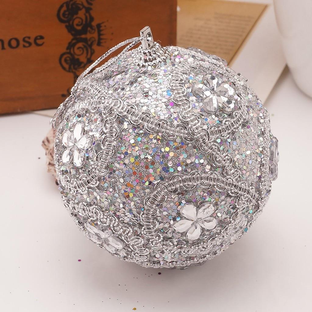 Adornos con brillos de diamantes de imitación de Feliz Navidad de 8CM, decoración de adorno de decoración de árbol de Navidad de bolas para el hogar, colgante de árbol de Navidad