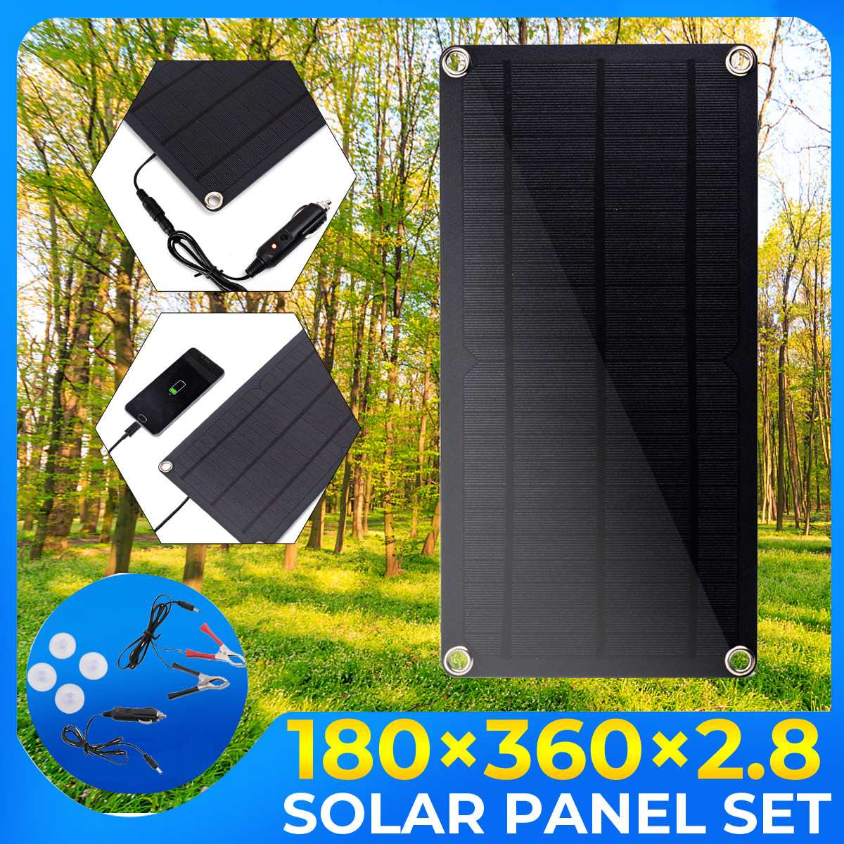 NEW 80W Sun Power Solar Cells Charger 12V USB Output Devices Portable Solar Panels for Smartphones Laptop Tablets Outdoor