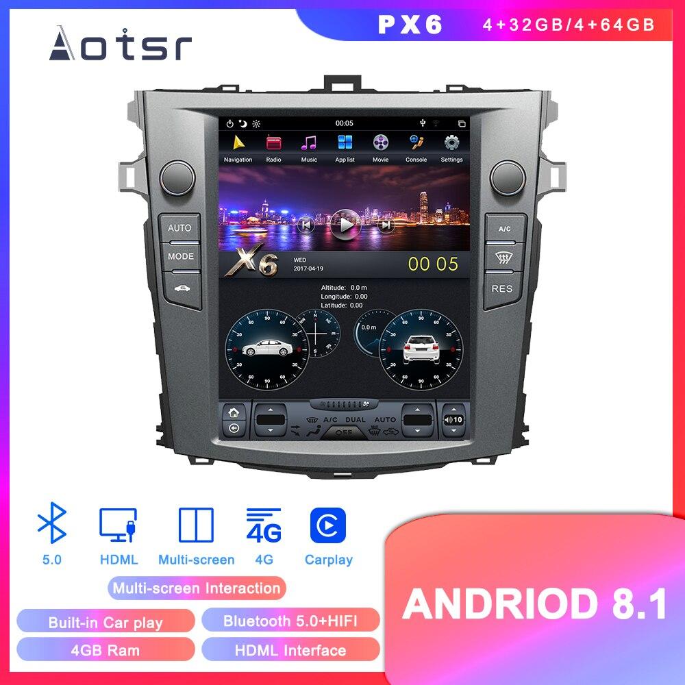 Android 8,1 Tesla stil DVD multimedia player GPS navigation für Toyota Corolla 2007-2013 auto radio-player Auto-stereo kopf einheit