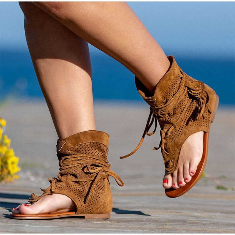 Retro Women's Sandals 2021 Gladiator Ladies Clip Toe Vintage Boots Casual Tassel Rome Fashion Summer Woman Shoes Female New