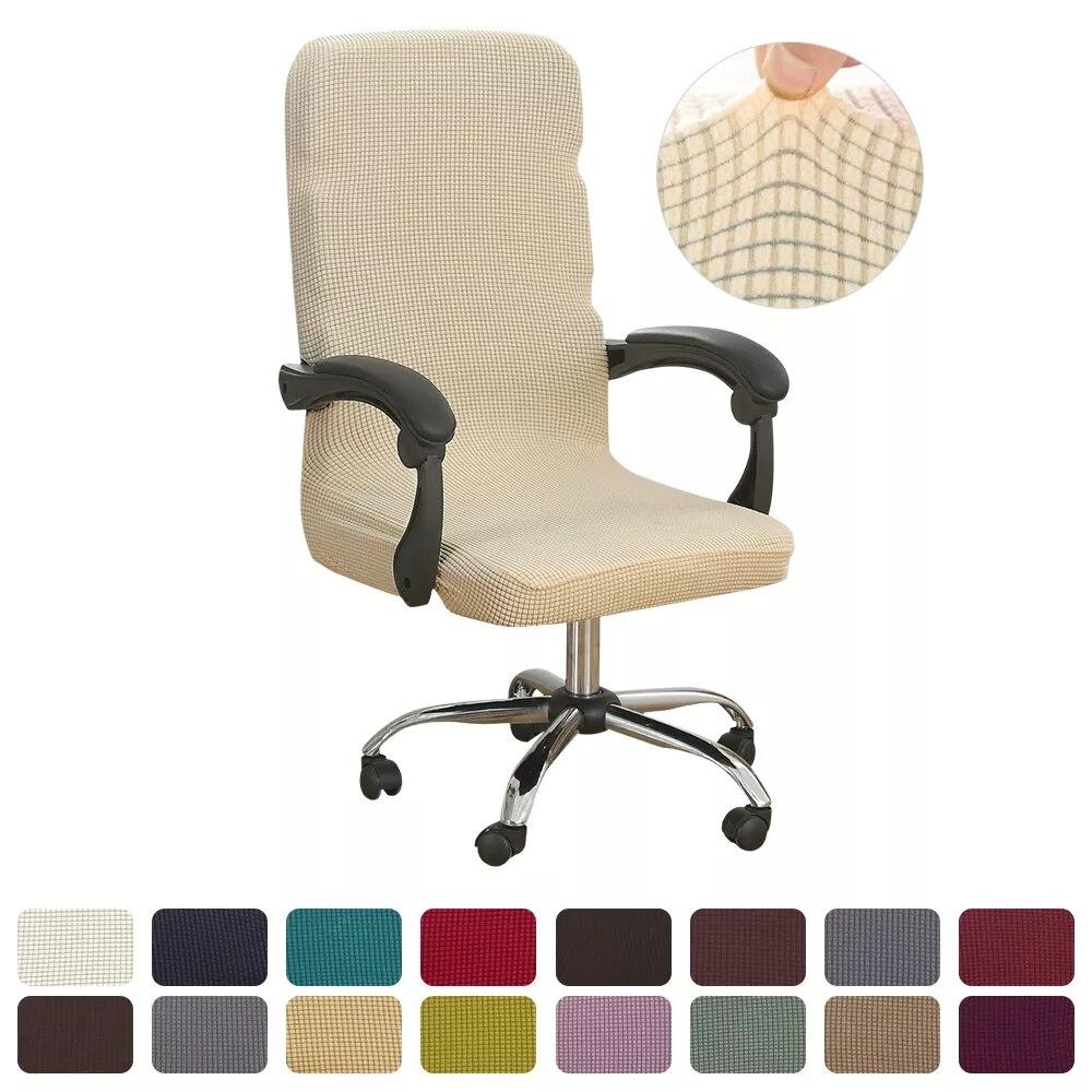 Вязаные утолщенные чехлы на компьютерные стулья из спандекса, моющийся съемный эластичный чехол на офисное кресло, простое офисное сиденье...