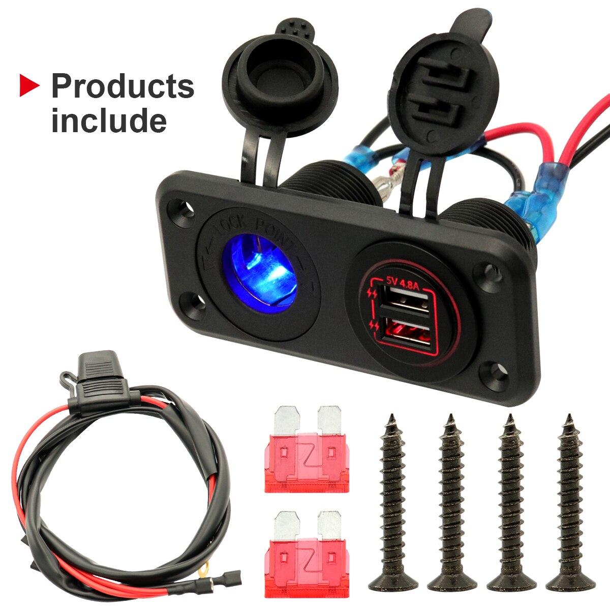 Автомобильное качественное двойное зарядное устройство USB и розетка с