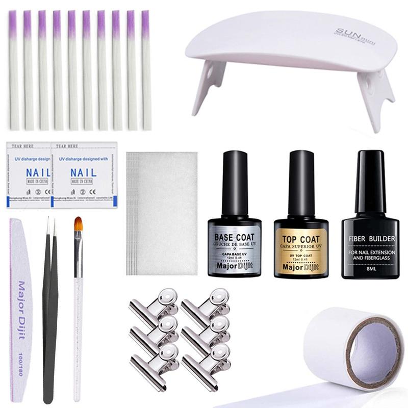 Fiberglass Gel Nail Art Set With Finger Extension Care Tools Quick Building Salon DIY Poly Gel Nail Manicure Extension Repair