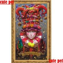 5d souriant clown peinture décorative artworkbricolage diamant peinture carré perceuse ronde diamant mosaïque broderie papier peint pas de cadre