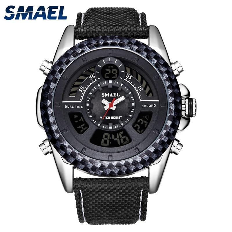 SMAEL Sport Mens Watches Military Digital Quartz Wirstwatch Black Nylon Strap Led Alarm Clock for Male Relogio Masculino New