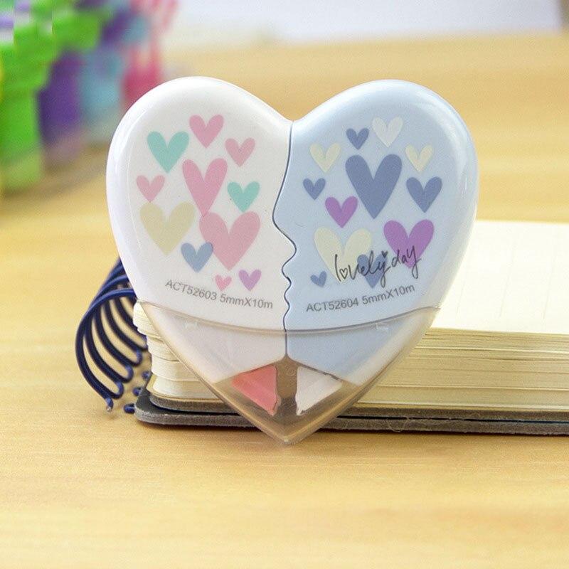 2 unids/par amor corazón corrección cinta Material Kawaii papelería oficina escuela suministros 10M blanco pegatina estudio Oficina Herramientas
