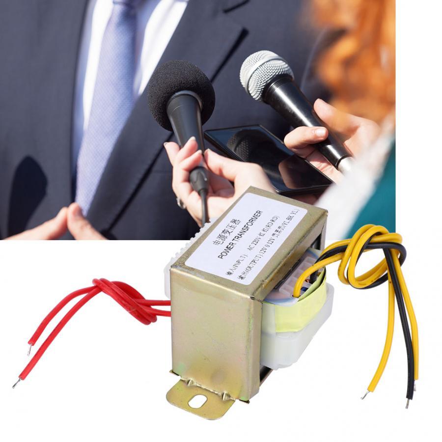 Transformador de potencia de 12V 30W doble de cobre, entrada AC 220V salida Dual AC 12V para inversor de placa amplificadora de 2,1 canales