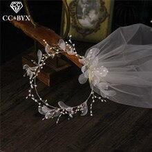 CC-velo de novia con corona de flores para mujer, elegantes velos de novia, accesorios de joyería de moda, hilo suave, romántico, bricolaje, V667