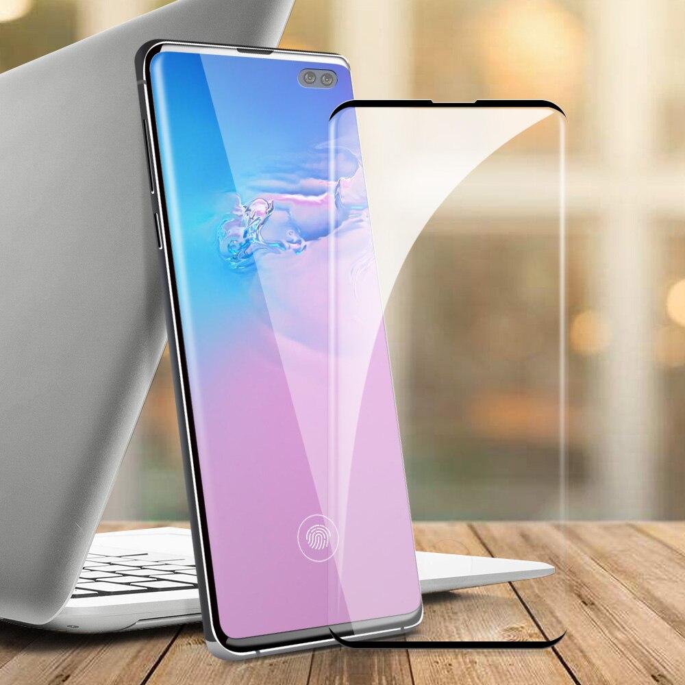 Vidrio protector de pantalla para Samsung s10, vidrio templado para Samsung S10 E S10E S10 Plus, protector de película de vidrio, desbloqueo de huellas dactilares