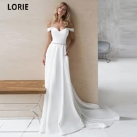 lorie simple wedding dresses satin bridel gown with off shoulder beach beading belt 2020 boho princess wedding gowns plus size