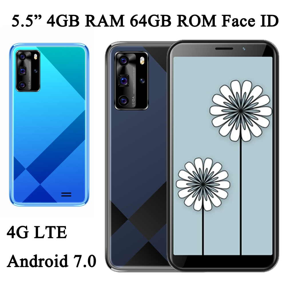 Global Smartphones 6A 4G LTE Front/Back Camera Android 7.0 4G RAM 64G ROM 5MP+13MP Face ID 5.5 inch Unlocked Wifi Mobile Phones