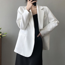2021 Fashion Office Wear Single-breasted White Blazer Coat Women's Vintage Long Sleeve Pockets Suit