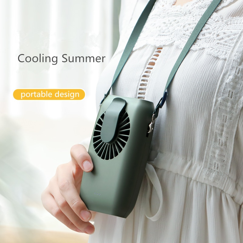 Waist Clipping Handheld Fan USB Rechargeable Battery Desktop Ventilating Fan with Hanging String Power Bank FansPortable Mini enlarge