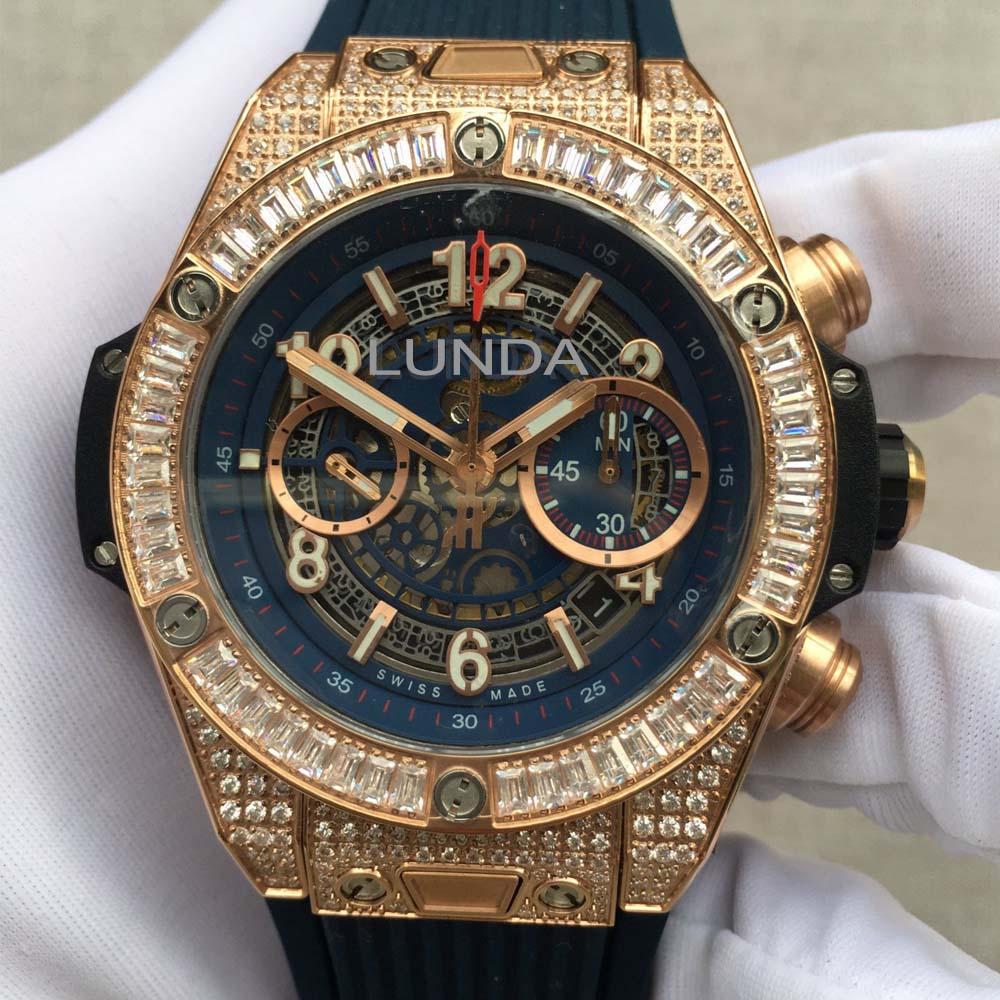 HB 45MM 411.OM. 1180.RX reloj 1242 cristal de zafiro doble, correa de goma, diseño hueco dial luminoso diamante reloj