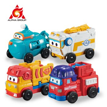 Super Wings 4 Mini Team Vehicles Action Figures Robot Transforming Bots Transformation Toys Rover Sparky Remi Willy For Kid Gift