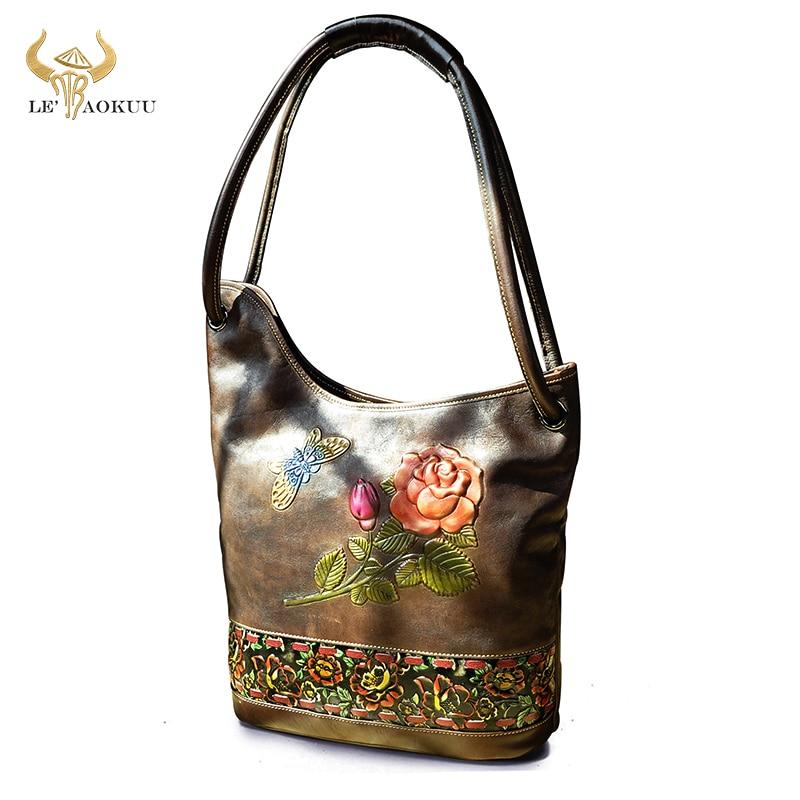 Coffee Genuine LEATHER Famous Brand Luxury Ladies Large Shopping handbag Shoulder bag Women Designer