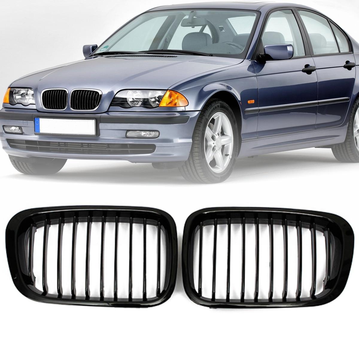 Par negro brillante/negro mate rejilla frontal para BMW 3 Series E46 1999 2000 2001 4 puertas 323 325