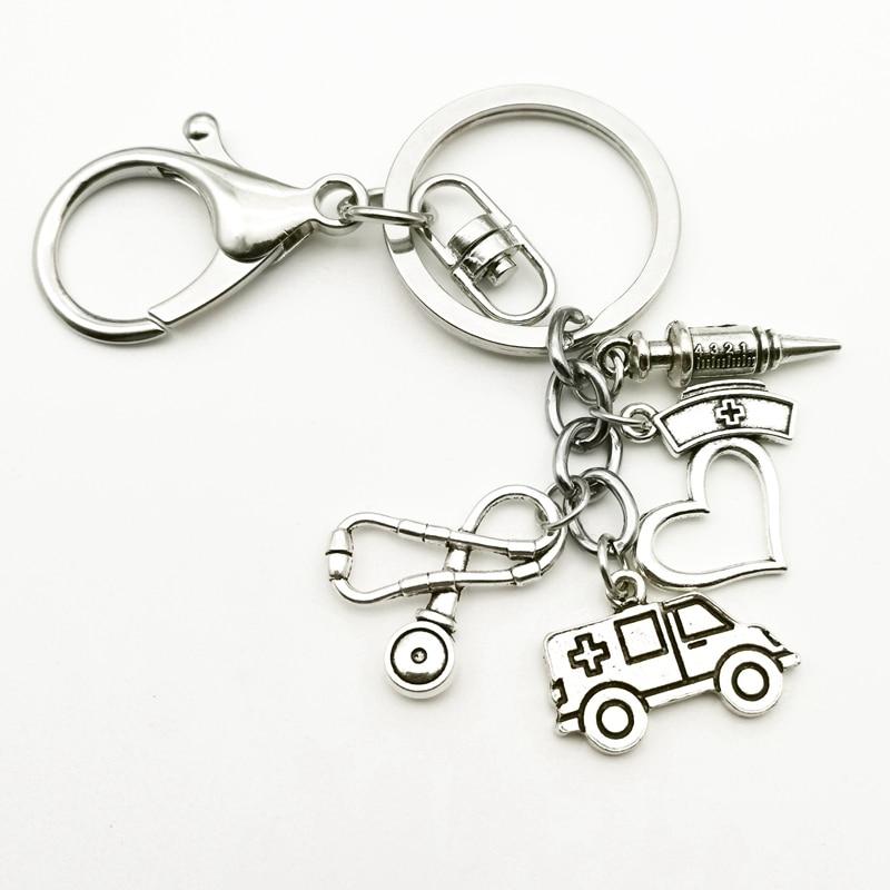 Créatif nouveau médecin infirmière Souvenir porte-clés seringue Antique argent plaqué caducée symbole médical Md pendentif porte-clés sac à breloques