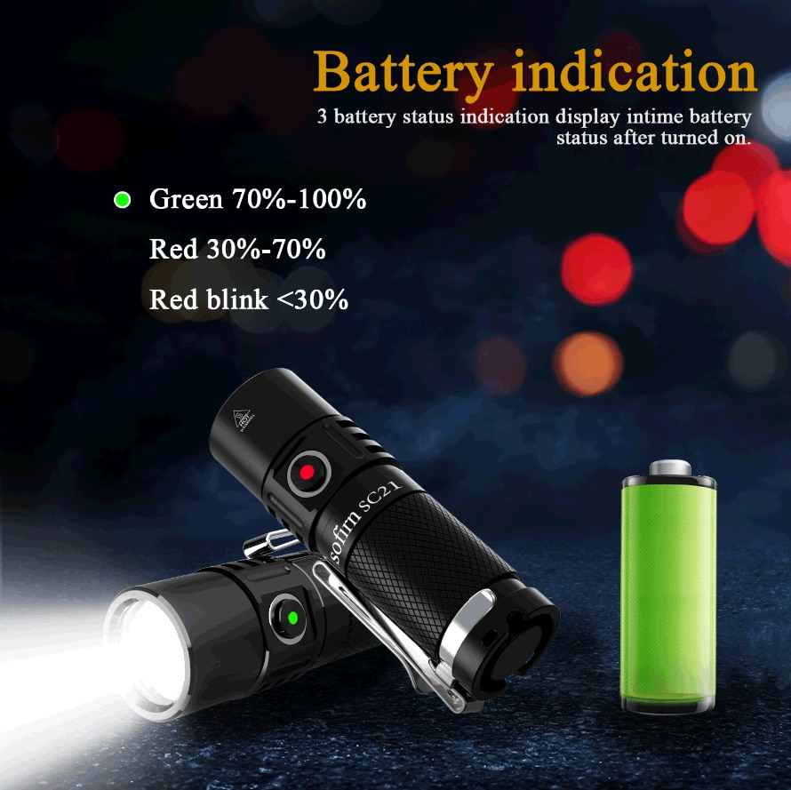 Sofirn SC21 Mini 16340 مصباح ليد جيب USB C 1000lm الشعلة القابلة لإعادة الشحن مع مؤشر الطاقة ذيل المغناطيس
