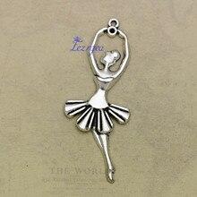 10 pièces/lot-61x24mm, ballerine chams, Antique argent plaqué Ballet danse fille breloques, fournitures de bricolage, accessoires de bijoux