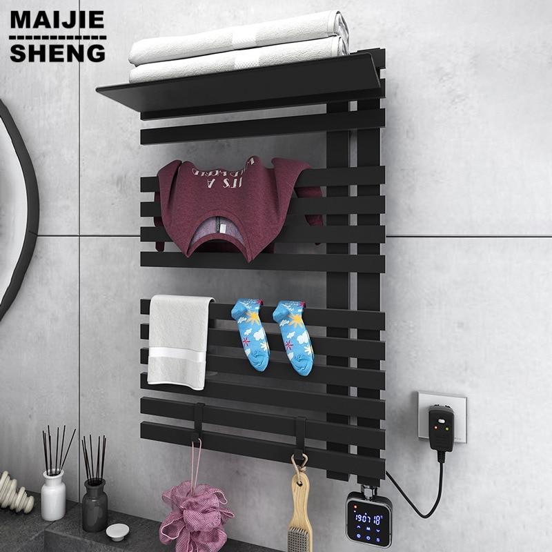 carbon fibre heating towel shelf Carbon fiber intelligent electric towel rack pole household heating bath towel rack drying rack