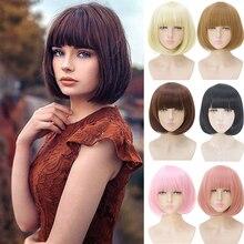 """Parrucca sintetica DIANQI 14 """"bob con frangia per donne nere parrucca cosplay bob naturale per capelli corti rosa rosso nero per donna"""