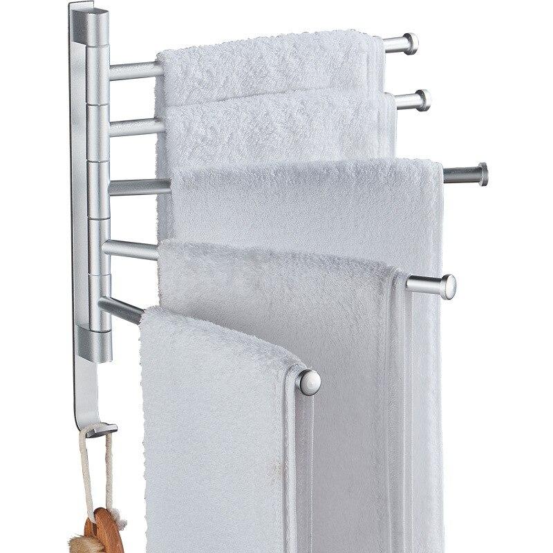 حامل مناشف دوار بدون ثقب للحمام ، حامل مناشف من الألومنيوم الأسود ، حامل مناشف المرحاض ، قضيب منشفة قابل للإزالة