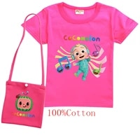 summer cartoon cocomelon clothes watermelon print baby girls short sleeve t shirt with bag kids cotton tops toddler boys t shirt