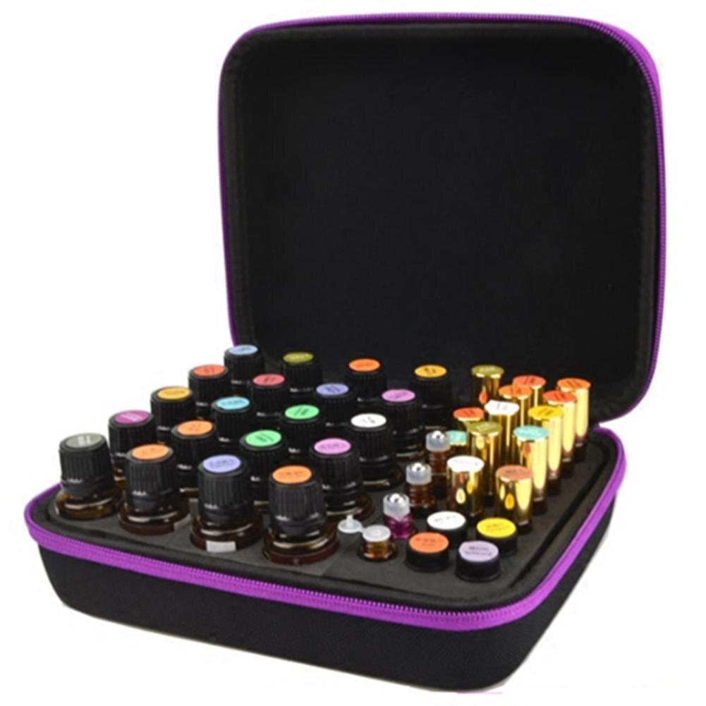 Bolsa de almacenamiento de 63 compartimentos para botella de aceite esencial EVA caja de almacenamiento portátil para paquete de aceite esencial