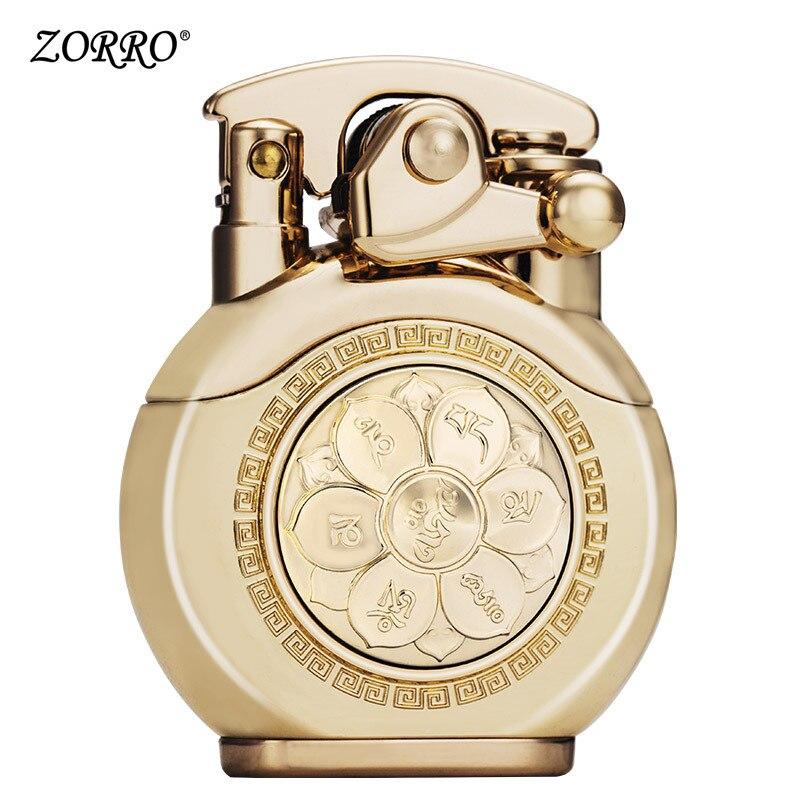 Zorro querosene mais leve luxo 6 palavras mantra latão gasolina flint isqueiro fogo livre inflado óleo mais leve roda de moedura artesanato