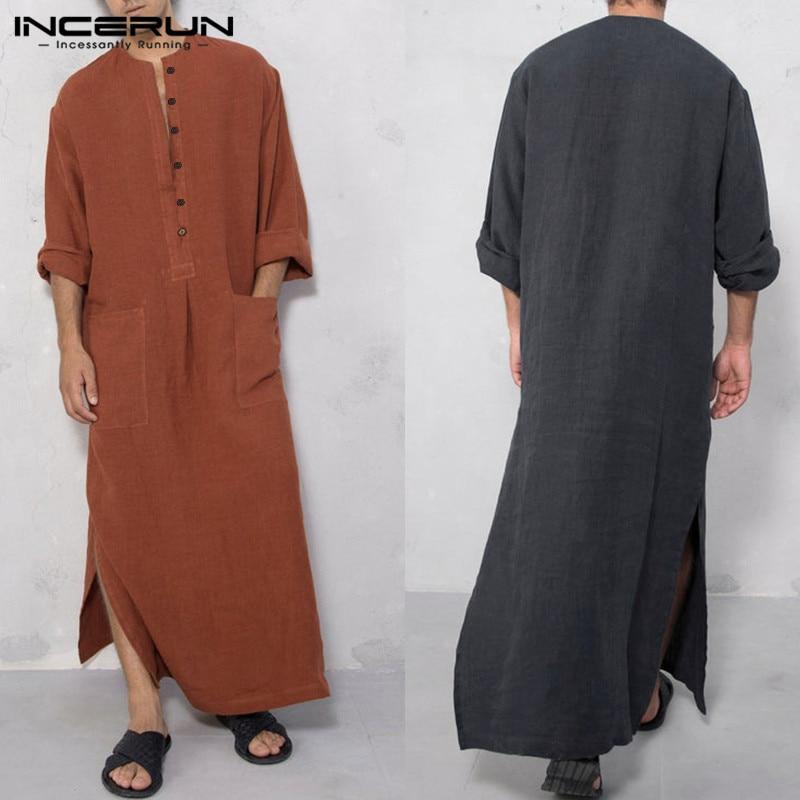 Vestido Abaya musulmán Kaftan 2020 de manga larga con bolsillos lisos para hombre de Arabia Saudita