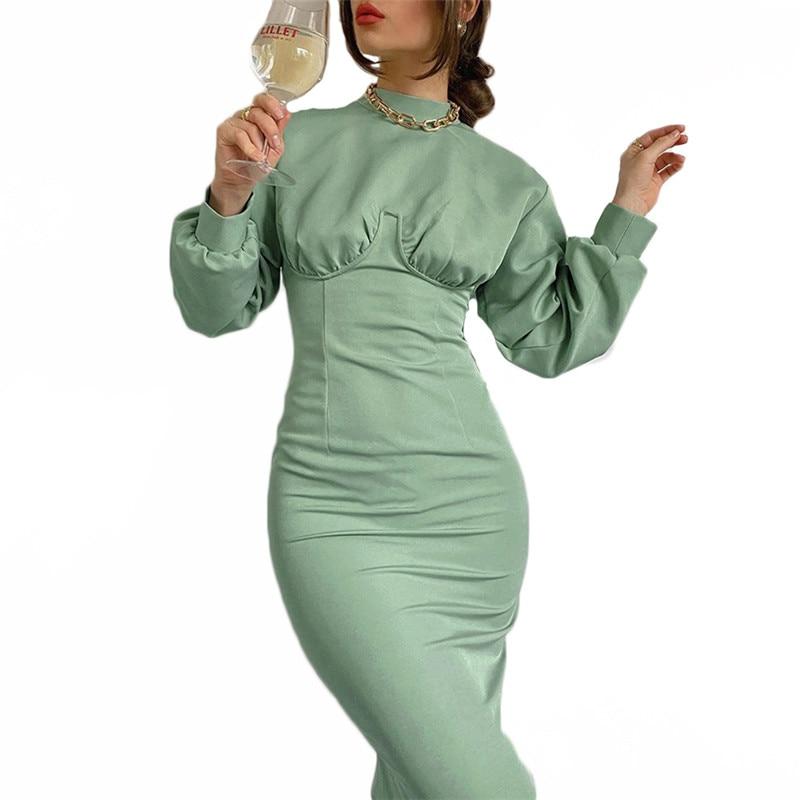 AliExpress - Green Dress Women 2021 Autumn New Fashion Elegant Mid-length Long Sleeve High Waist Slim Dresses Female LR1219