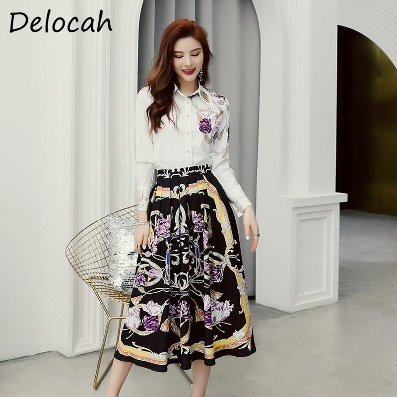 Delucah, moda de verano, conjunto de pasarela para mujer, de manga larga, precioso cristal Vintage, estampado, Falda Midi delgada para mujer, trajes de dos piezas