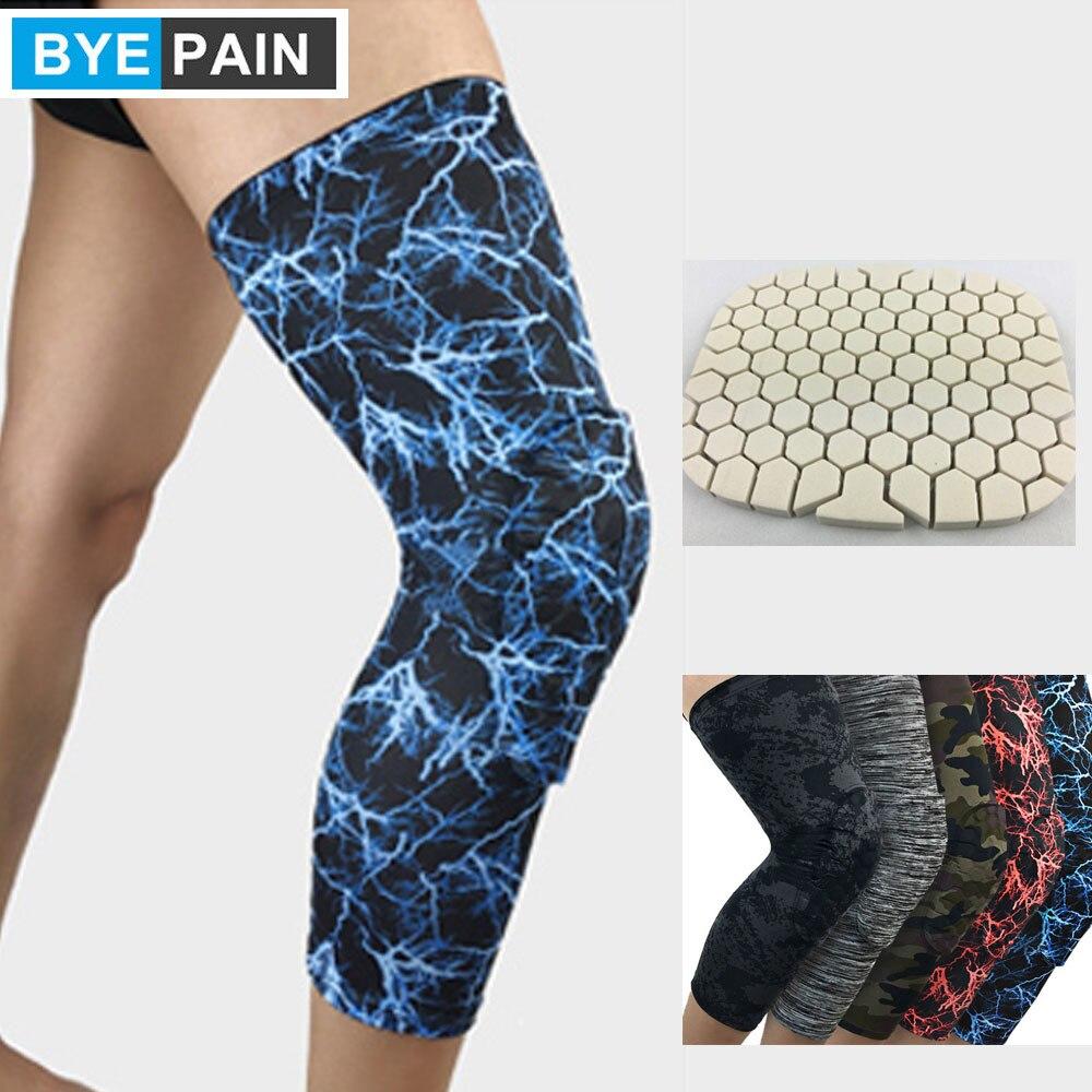 1Pcs BYEPAIN Knee Support Brace Basketball Padded Leg Sleeve Knee Pad Protector Anti-Slip Honeycomb KneePad Youth/Kids & Adult
