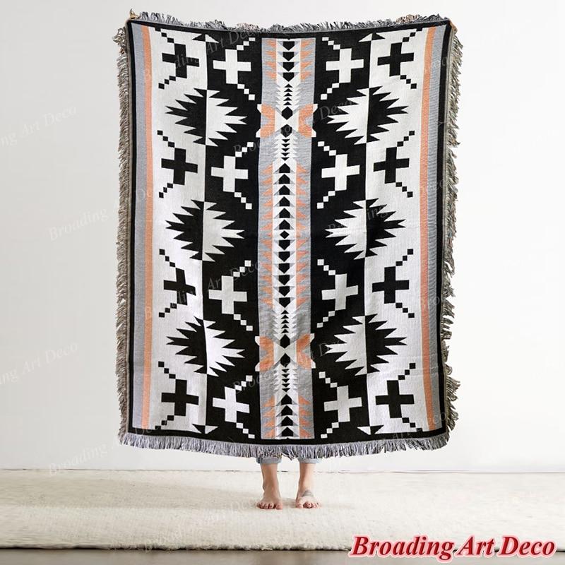 كبير الهندي نافاجو القبلية القطن رمي بطانية منطقة العرقية الأمريكية سجادة التخييم أريكة سرير هندسي غطاء نسيج الزخرفية