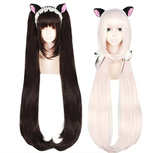 Anogol Chocola NEKOPARA Wig Chocolate Double Ponytail Long Straight Brown Pink Synthetic Cosplay Wig for Party Role Play