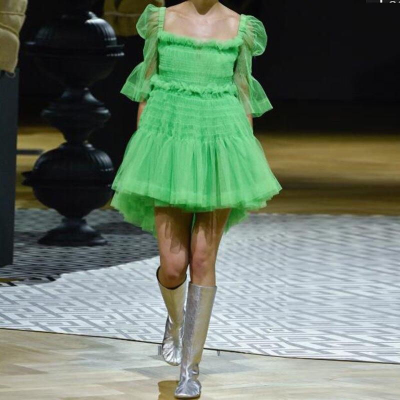 Neón verde 3/4 manga tul corto vestidos de fiesta 2020 Hi bajo tutú personalizado de talla grande vestidos de fiesta Robe de soiree baratos vestidos formales