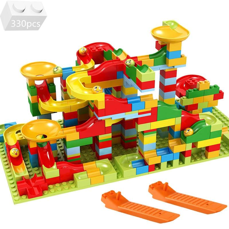 Marble Race Run Block Funnel Variety Slide Track Maze Ball Building Blocks Kit Small Bricks Ideas DIY Assembly Toys For Children