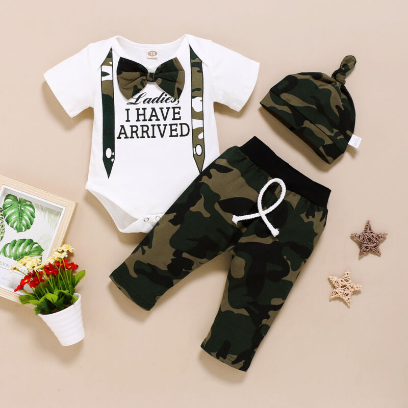 Newborn Baby Boy Clothes  Letter Print Romper Tops Camouflage Long Pants Camo Hat Outfits Clothes Set