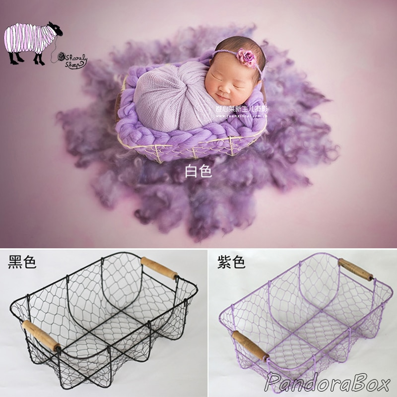Newborn Photography Props Box Baby Photoshoot Studio Posing White Iron Basket fotografia Accessories Baby Picture Shooting Bed