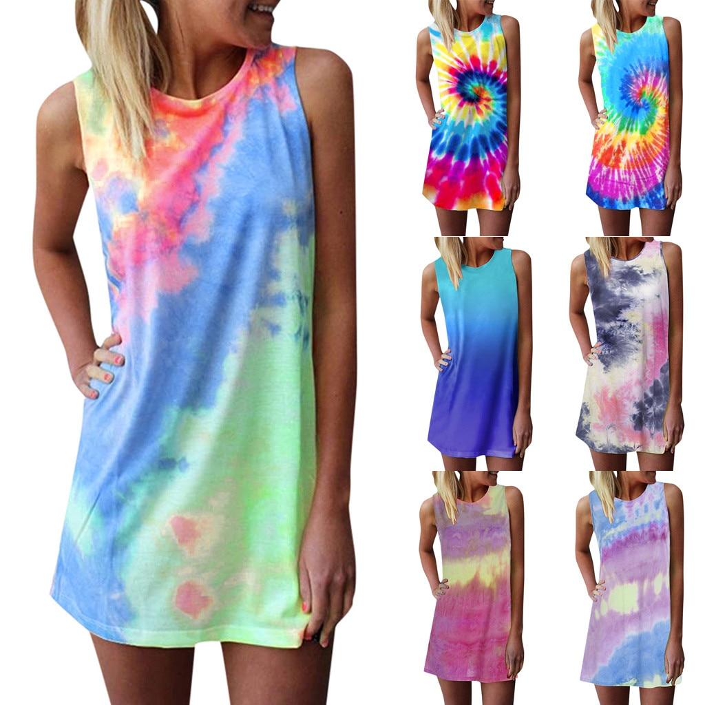 Verano Mujer vestido sin mangas fiesta estampado De arco iris glamuroso Mini vestido Tie dying Graffiti playa Vestidos De Verano Mujer @ 45