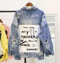 2018 Women's Graffiti letter BF denim jacket coat loose   parkas