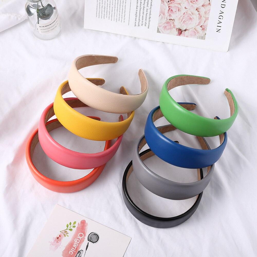 New Colorful Solid Pu Leather Hair Band For Women Korean Turban Headband Headwear Hair Accessories Girls Hearband