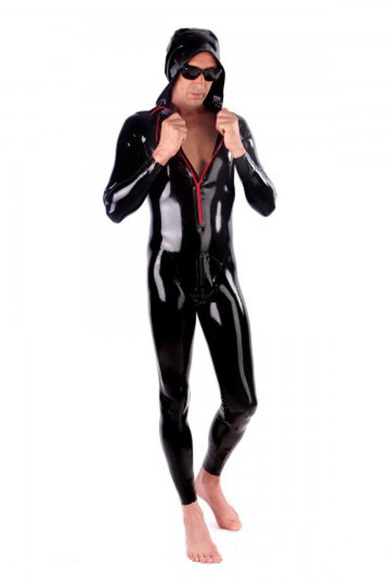 Сексуальные экзотические сексуальные черные мужские латексные комбинезоны ручной работы на заказ боди с накидкой головной убор Сексуальн...